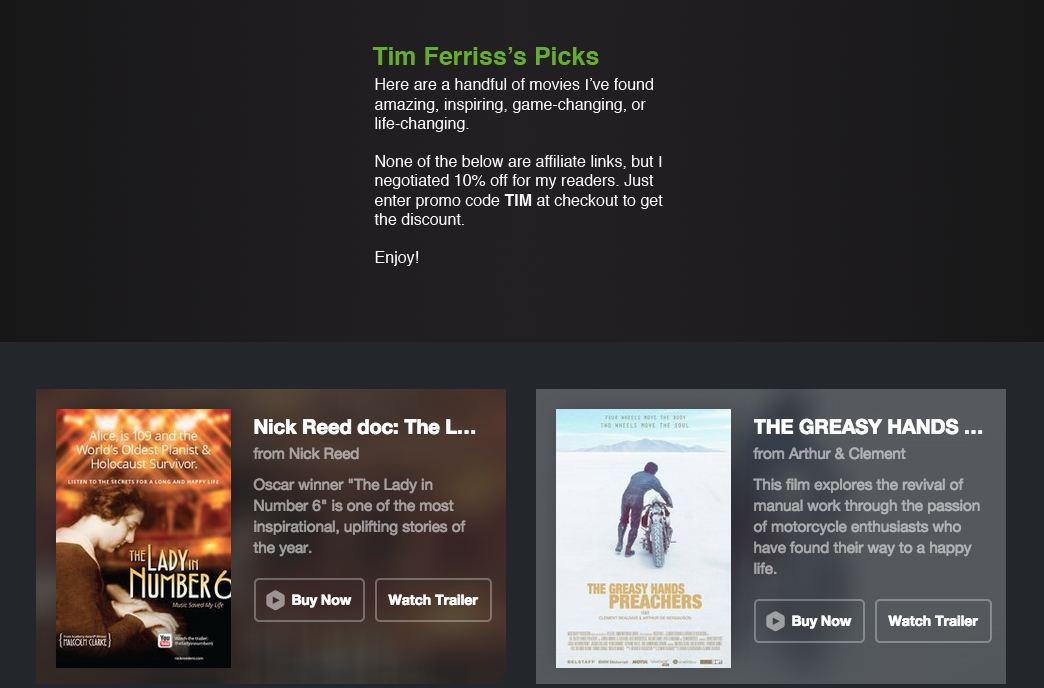 Tim Ferriss's Picks